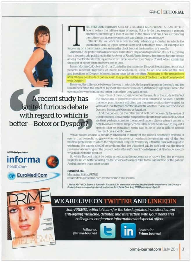 Rimpelbehandeling Botox / Dysport Amsterdam